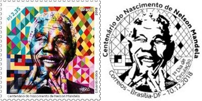 878fb025a4eb0 Correios lança selo especial em homenagem ao centenário do nascimento de  Nelson Mandela