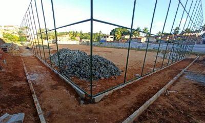 Obra da praça do campo de Morrinhos, em Barra do Pojuca, está 34% concluída