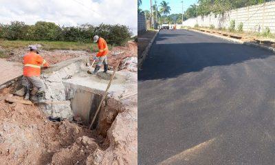 Obras de drenagem e pavimentação asfáltica são feitas em diversos locais de Camaçari