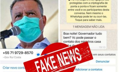Rui Costa alerta para golpe usando seu nome em aplicativo de mensagem