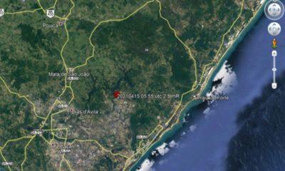 Tremor de terra é registrado em Dias d'Ávila