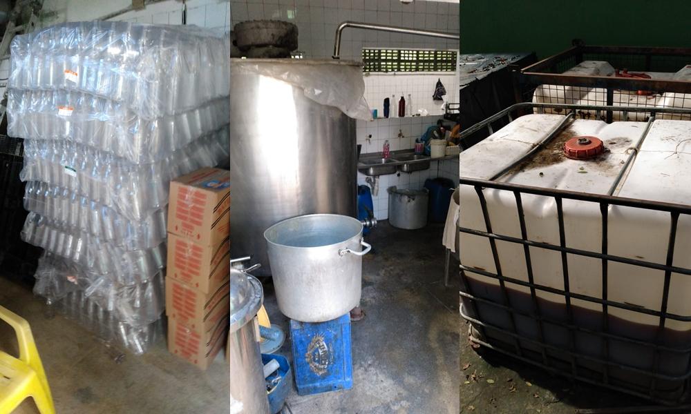 Polícia interdita fábrica clandestina de licor em Salvador