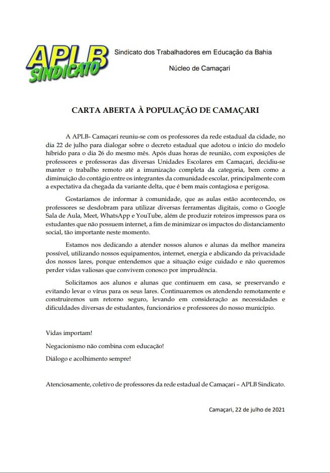 Em carta aberta, ALPB Camaçari afirma que professores não retornarão e recomenda aos estudantes ficarem em casa