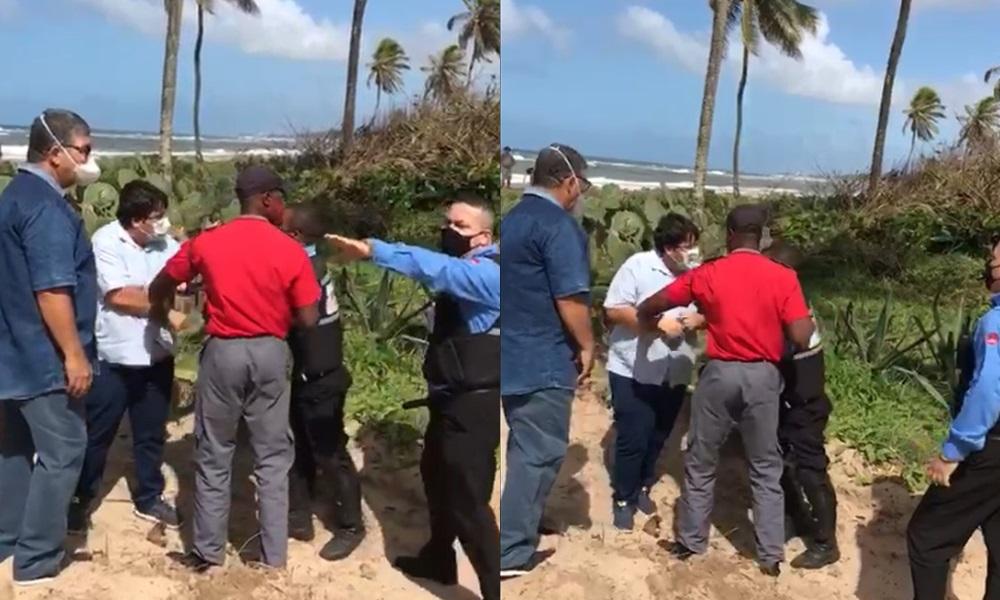 Seguranças de loteamento em Busca Vida tentam impedir acesso de vereadores à praia