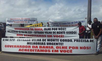 Moradores da orla e zona rural de Camaçari e de Dias d'Ávila protestam pela requalificação da BA-512