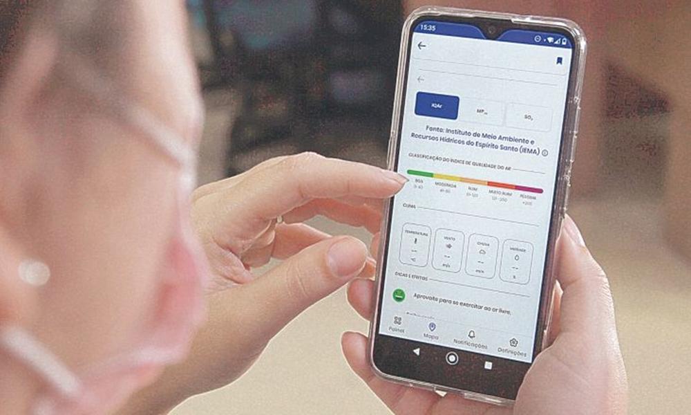 Aplicativo de celular permite consultar informações sobre a qualidade do ar