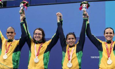 Brasil é prata na natação no revezamento misto 4x100 m na Paralimpíada
